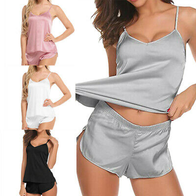 Women Silk Satin Sexy Pajamas Set Loungewear Sleepwear Chemise Shorts Nightwear