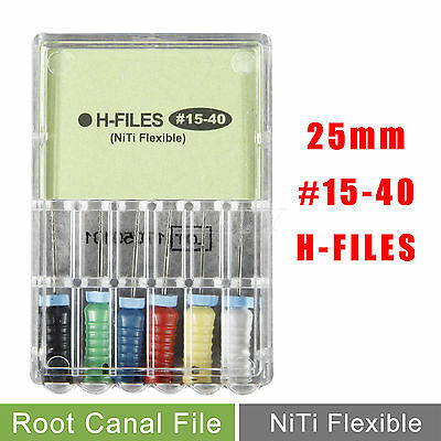 Dental Niti Flexible H-Files 25mm #15-40 Endo Root Canal File Hand Use