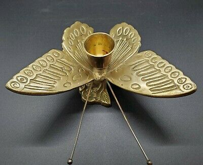 Vintage Brass Butterfly Shaped Candlestick Holder. Very Nice for Home Decoration