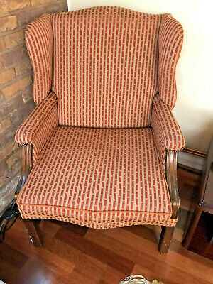 Pair Of19Th Century Large Easy Wingback Armchair  Wood