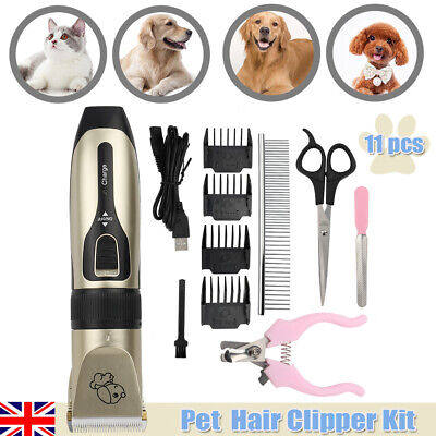 Electric Cordless Pet Dog Cat Grooming Clipper Hair Trimmer Shave Kit USB Charge