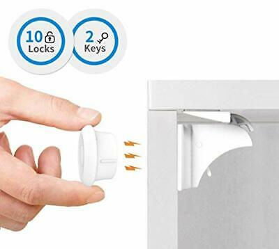 Baby Safety Magnetic Cupboard Locks - 10 Pack Child Proof Cupboard Catches and