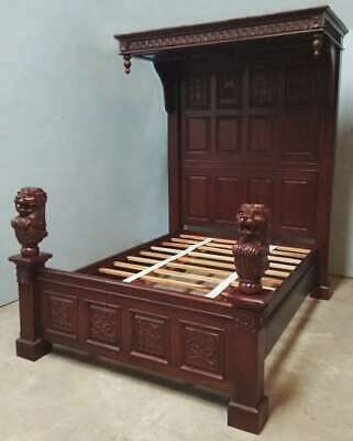 """Solid Mahogany Gothic 4'6"""" Double Size Carved Ecclesiastic Half Tester Bed"""