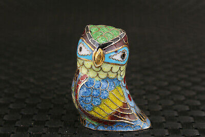 lovely chinese old cloisonne hand painting lovely owl statue figure
