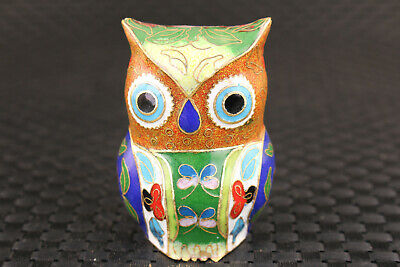 Rare chinese cloisonne handmade owl horse statue figure collectable noble gift