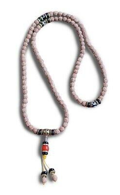 Buddhist Mala Prayer Beads Necklace Rudraksha Seeds Carnelian Dzi Bead Chain