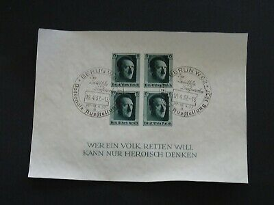 Germany Stamps SG MS636 Hitler's Culture Fund & 48th Birthday FU 16-4-37 Imperf.