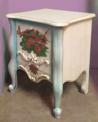 Pair of Solid Mahogany Blue White Floral Country Chateau Style Bedside Chests