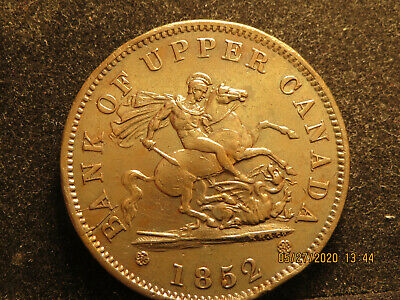 One Penny 1852 Token Bank of Upper Canada AU