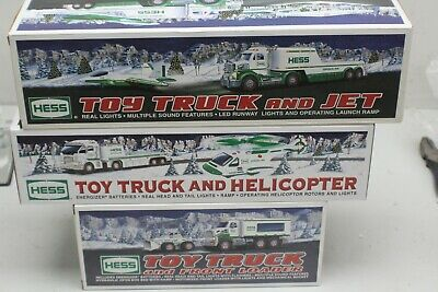 Lot of 3 Hess Toy Trucks Jet Helicopter Front loader Pre-owned