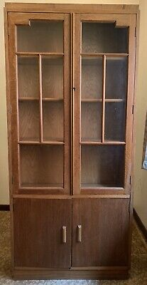 Deco / Arts & Crafts Glazed Oak Bookcase / Display Cabinet Cupboard Below