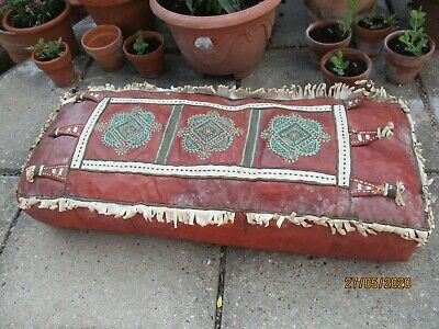 An Antique Vintage Hand Embroidered Moroccan Leather Foot Stool Cushion Pillow.