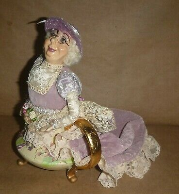"Vintage Rare Ceramic Old lady Head In Ceramic Teapot ~ PIN CUSHION ~ 8.5"" tall"