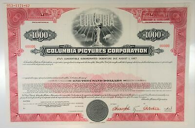 NY. Columbia Pictures Corp., 1967 $1,000 Registered 4 3/4% Specimen Bond, XF ABN