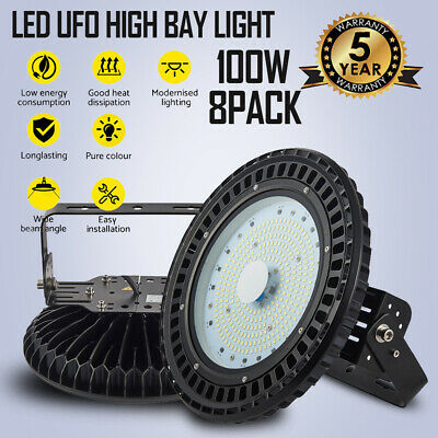 8 X 100W LED UFO High Bay Light Industrial Factory Gym Warehouse Lighting 6000K