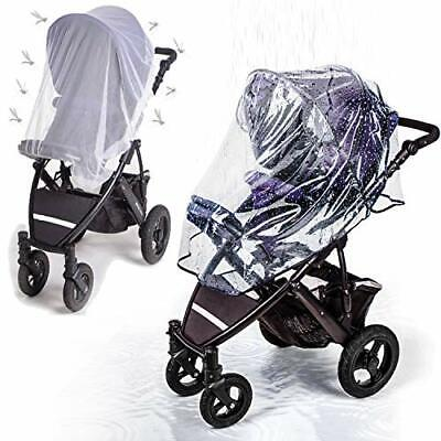 Stroller Rain Cover with Mosquito Net - Protects Babies from Sun, Wind, Rain,