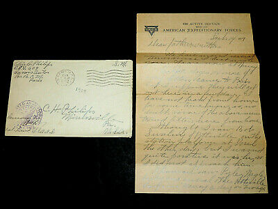 1919 Censored WW1 Letter from US Soldier in Paris France, Military Stationary
