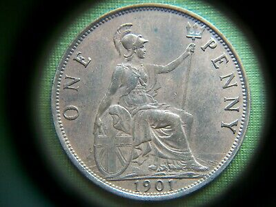 1901, Queen Victoria,Penny, Slight Lustre. Very Good Grade.