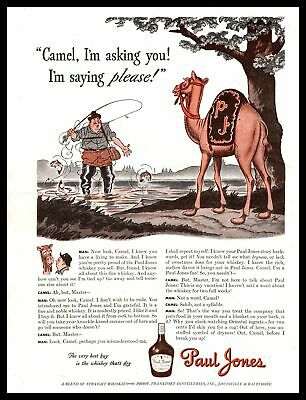1942 Paul Jones 90 Proof Whiskey Fly Fisherman Talking To Camel Vintage Print Ad