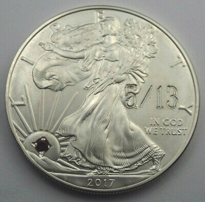 2017 $1 American Silver Eagle 1 oz .999 Coin with Gem Sobriety Chip 5/13 TAYLOR