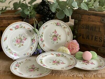 Pretty Vintage English China Tea Plates: Pink Rose Bouquets X Five!