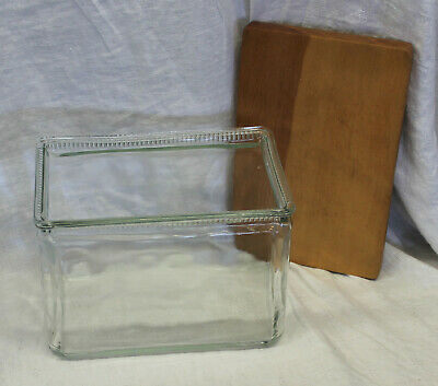 Vintage Glass Battery Box Fish Turtle Bowl with wood lid