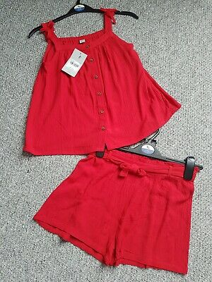 Girls Tu Red Shorts Top Summer Outfit Set Age 11 Years Bnwt