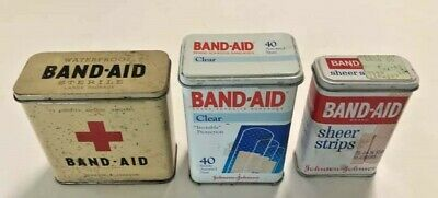 Vintage Johnson & Johnson Red Cross Band-Aid Hinged Metal Tin box Lot of 3 USA!