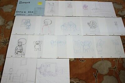 Rare The Simpsons Tv Show Original Storyboards Set Used Sketches Drawing 521