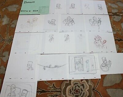 Rare The Simpsons Tv Show Original Storyboards Set Used Sketches Drawing 524