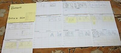 Rare The Simpsons Tv Show Original Storyboards Set Used Sketches Drawing 529