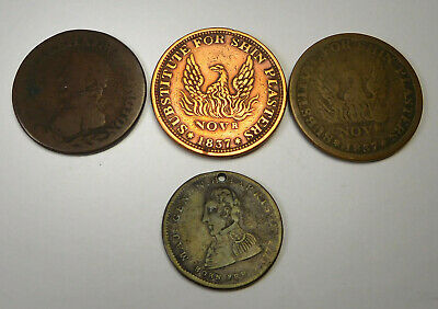 Lot Of 3 Impaired Hard Times Tokens & W.H. Harrison Token