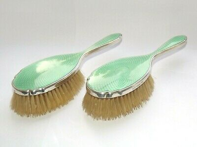 Asprey & Co Solid Silver Sterling & Enamel Pair Of Hair Brushes Chester 1928