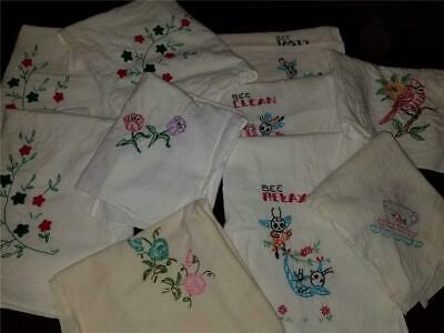 Lot 10 Vintage Large White Cotton Dishtowels Hand Embroidered Farmhouse Kitchen