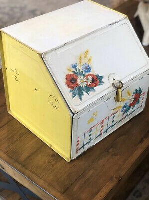 Vintage Collectible Metal Kitchen Bread Box 1950's Two Compartment Yellow Red