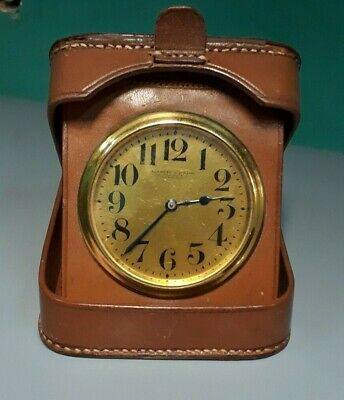 Antique Mappin & Webb 8 Days Leather Desk Clock Free Shipping Fedex