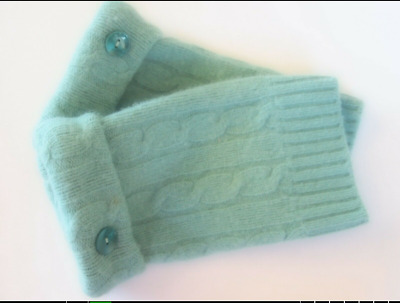 Fingerless Gloves Green Turquoise Women's Wool Cashmere One Size Fits Most S M L