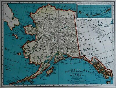 L@@K! Vintage 1941 World War WWII Atlas Colored Map Alaska AK & Wyoming WY OLD