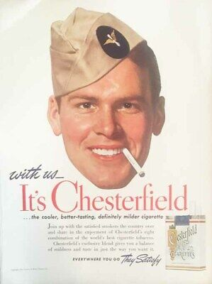 1941 original CHESTERFIELD cigarettes print ad - army man!!