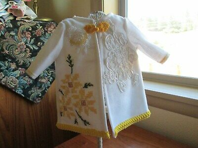 Doll coat made from vintage table cloth, yellow, dressy & pretty