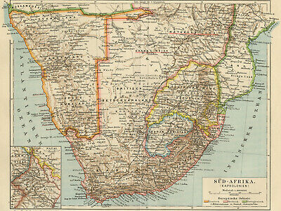 Antique Map-SOUTHERN AFRICA-NAMIBIA-CAPE-Meyers-1885