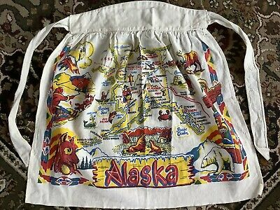 Vintage Alaska Cotton Half Apron Souvenir-Bright Colors