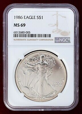 1986 Silver American Eagle NGC MS69 $1 1oz .999 Silver Brown Label