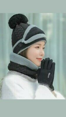 Women 4 Pieces Hat Thicken Warm Touch Screen Gloves Mask Scarves Winter Outdoor