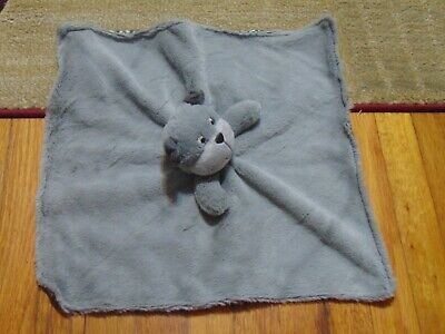 Carters Puppy Dog Gray Baby security Blanket Rattle Fluffy Blue Collar Satin