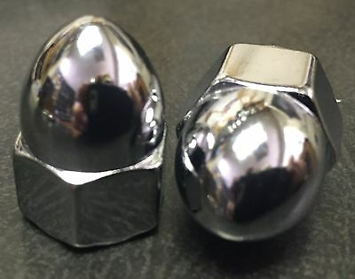 Chrome Acorn High Crown Cap Nuts * Size's 10-24 to 1/2-20 & 6mm 8mm Sold Each