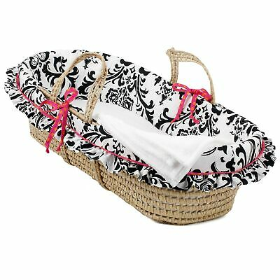 Cotton Tale Girly Moses Basket Pink, White, Black