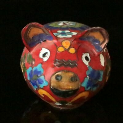 Chinese Exquisite Handmade Cloisonne Enamel Pig Statues