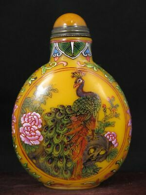 Fine Chinese Peacock Bird Peach Hand Painted Peking Enamel Glass Snuff Bottle