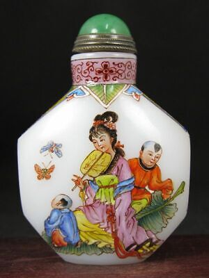 Fine Chinese Woman Boy Hand Painted Peking Enamel Glass Snuff Bottle